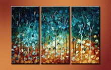 Hand Drawing Bed Room Golden And Bright Blue Canvas Made Wood Framed Oil Painting Wall Art for Hotel House Decoration