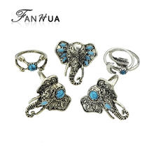 FANHUA 5pcs/set Antique Silver Color with Blue Enamel Blue Stone Elephant Finger Rings sets Moon Arrow Geometric Rings