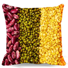 Red bean Mung bean Oatmeal green yellow Square Cotton polyester soft cushion cover for Home car sofa chair decorative