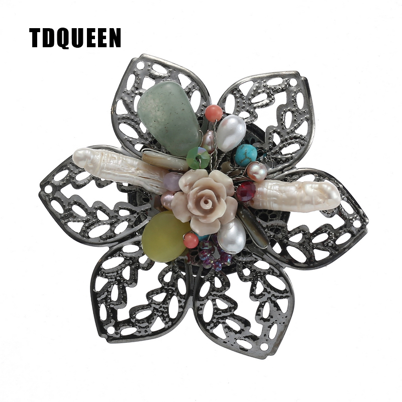 TDQUEEN Brooches for Women Natural Freshwater Pearl Brooch Antique Silver Plated Baroque Flower Big Pins and Brooches
