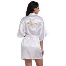 Gold Stamp'Bride' Back Silk Satin Wedding Bride Robe Sexy Night Robe Fashion Kimono Robe Summer Dressing Gown Women