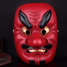 Resin Japanese Buddhist Traditional Warrior Hannya Mask Cosplay Scary Mask Adult Fancy Costume Masquerade Party Halloween Props