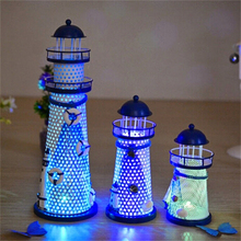 New Metal Lighthouse Beacon Tower Beach Starfish Shell Home Room Bedroom Ornament Gift DIY Decorative Crafts