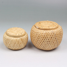 Bamboo double-layer Pu'er tea leaves cans hand-picked  small basket handmade of natural spice candies Storage Containers jar