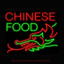 Chinese Food Dragon Bottom Neon Sign Store Display Neon Bulbs Real Glass Tube Recreation Room advertisement Personalized 30x24(China)