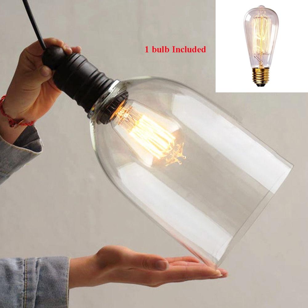2017 Vintage Industrial Pendant Copper Retro Glass BigClock Ceiling Lamp Pendant Light with Bulb Light <br>