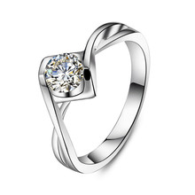 0.5CT Ribbon Style Jewelry Silk Design SONA Simulate Diamond Ring Engagement Plated 18K White Gold Real Sterling Silver Jewelry(China)