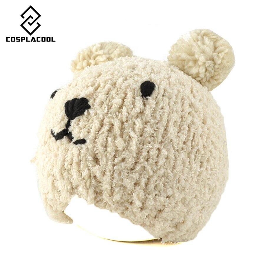 [COSPLACOOL] Lovely set of head cap autumn and winter the bear the ball warm hat womens earmuffs knitted cap Îäåæäà è àêñåññóàðû<br><br><br>Aliexpress