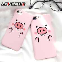 LOVECOM Cartoon Pink Cute Pigs Phone Back Cover Case For iPhone 5 5S SE 6 6S 7 7 Plus Matte Hard PC Mobile Phone Bags & Cases