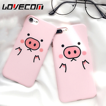 LOVECOM Cartoon Pink Cute Pigs Phone Back Cover Case For iPhone 5 5S SE 6 6S 7 7 Plus Matte Hard PC Mobile Phone Bags & Cases(China)