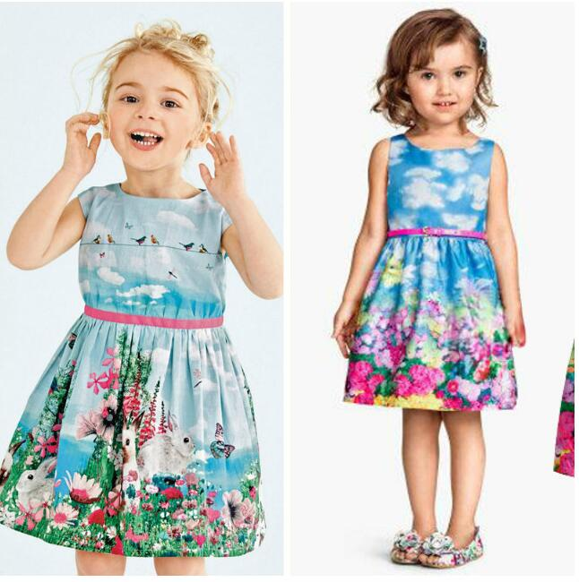Unique Summer Dress On A Girl Farmhouse Style Vestido Princesa Cartoon Printing Pattern Elegant Dresses For Girls New Year <br><br>Aliexpress