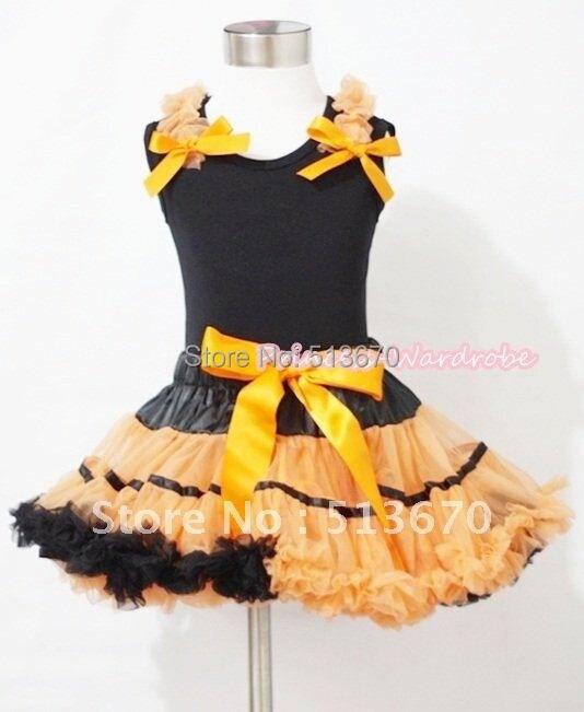 Halloween Black Orange Trim Pettiskirt &amp; Black Tank Top with Orange Ruffles and Bows MAMN076<br>