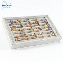 SUSENSTONE Jewelry Rings Display Tray Velvet About 50 Slot Case Box Jewelry Storage Box(China)