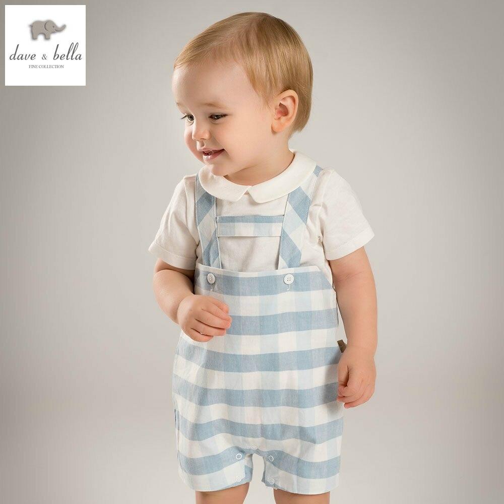 DB4845 dave bella summer baby boys clothing set white t shirt blue romper sets child sets infant clothes kids sets baby costumes<br>