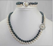 "Free shipping@@@@@ NEW 2 ROW 8-9MM AAA SOUTH SEA White black Pearl Necklace 18 ""+ Bracelet 7.5 """