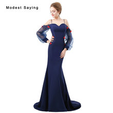Sexy Blue Beaded Long Sleeve Evening Dresses 2018 with Straps Sexy Mermaid Flowers Evening Gowns Party Prom Gowns robe de soiree(China)