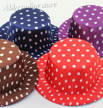 "5.2""/13 cm Dot Print Satin Party Hats WITH HAIRPINS,Hair Accessories Mini top hats"
