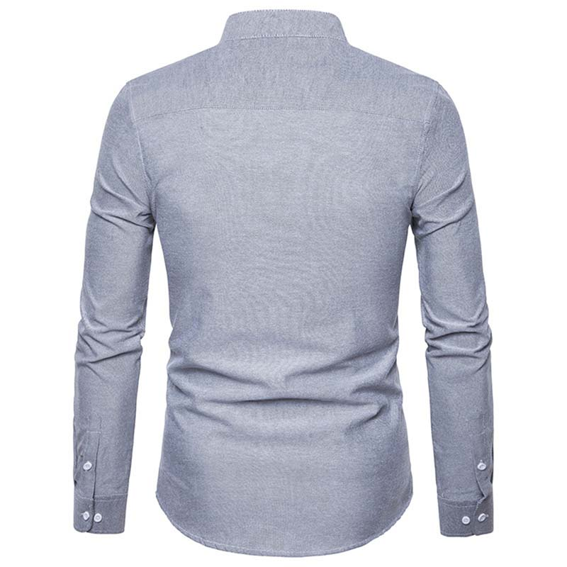 31105fce2 Men Shirt Solid color Asia size 2018 New Arrival Slim Fit Male Cotton Tops  Long Sleeve Stand-collar Men's Shirts M L XL XXL