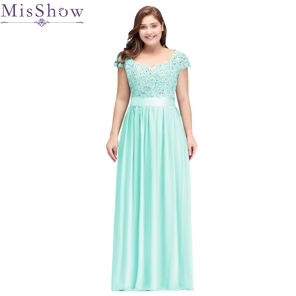 Robe De Soiree 2019 Mint Green Plus Size Evening Dresses Elegant A Line Scoop Neck Short Sleeve Long Formal Wedding Party Gowns