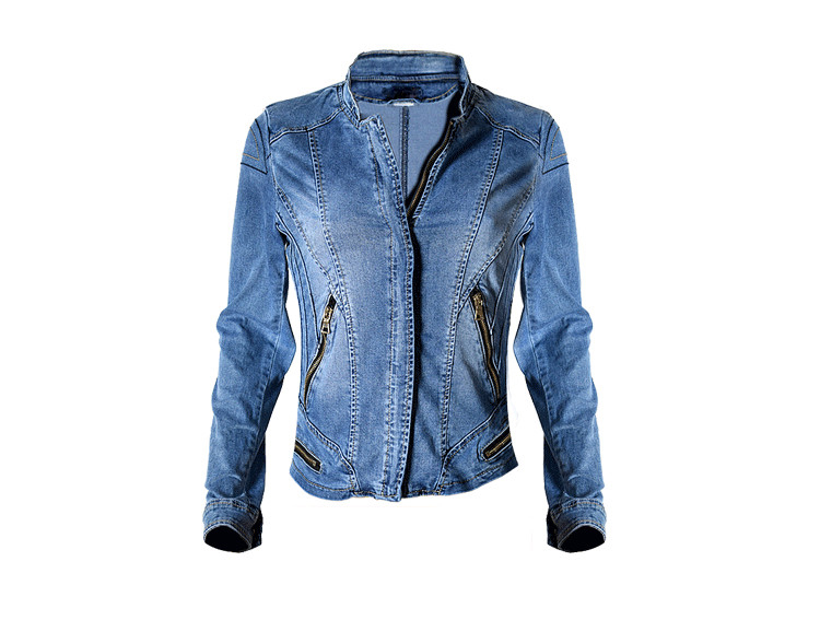 2017 New Hot Sale Popular Women Baseball Jackets Stretch Denim Jacket Multi-zipper Short Motor Style Chaqueta Female Denim Coats (10)