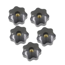 5pcs M6 x 40mm Female Thread Clamping Knobs 6mm Thread 40mm Head Dia 7 Star Shaped Through Hole Clamping Nuts Knob