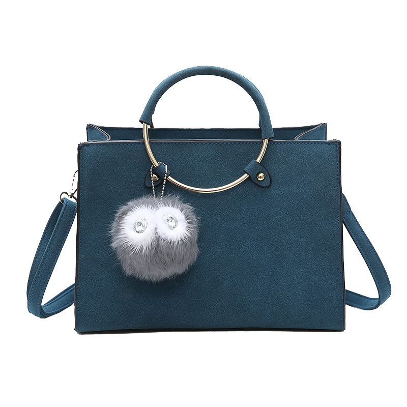 New Brand Scrub Leather Top-Handle Bag Ladies Shoulder Bags With Fur Ball Shopping Tote Portable Messenger Handbags Bolsa 130299<br><br>Aliexpress