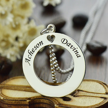 Silver Circle Name Necklace Personalized I Heart You Couples Name Necklace Engraved Disc Initial Pendant Love Jewelry