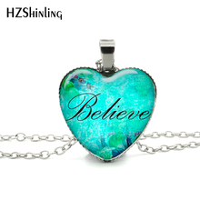 New Faith Believe Hope Heart Necklace Word Believe Pendant Religious Christian Jewelry Women Heart Shaped Necklace HZ3(China)