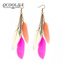 QCOOLJLY Long Earrings Vintage Drop Earring For Women Colorful Fancy Feather Dangle Earrings Drop Earring Ethnic Indian Charm(China)