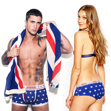 Buy Pink Hero Cotton Fashion Sexy Star Stripes Mens Print Shorts Boxer Couples Underwear Comfy Shorts women panties lover underpants