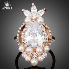 AZORA Fish Design Rose Gold Color Clear Cubic Zirconia With Pearl Ring TR0117