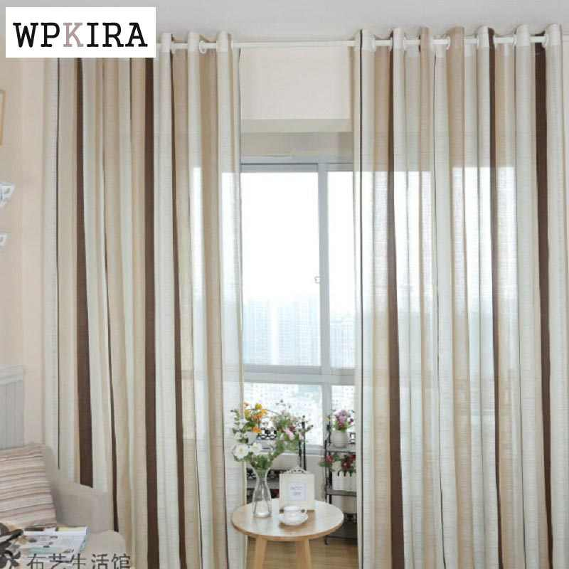 Coffee Striped Pattern fringe curtain Yarn curtains linen brown curtain fabric bedroom Kitchen striped curtains 222&30