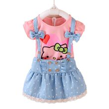 Hello Kitty Girls Dress Dresses Kids Girls clothes Children clothing Summer 2017 Toddler girl clothing Sets Casual Fashion T569(China)