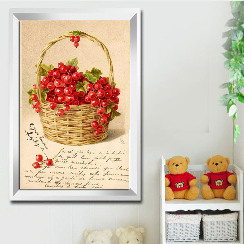Aml Home DIY Diamond Painting Full round Mosaic Sticker Decor Painting Cross Stitch fruit 5d Diamond Embroidery Icon cherry(China)