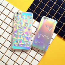 3D Holographic Geometric Case For iPhone 7 6 6S Plus Laser Colorful Card Rainbow Diamond TPU Fashion Cover For iPhone 5 5S Coque