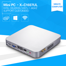 XCY Barebone Mini PC 1037UL Celeron Dual Core 1.8GHz Windows10 Embedded Computers with 6*USB +HDMI DDR3 Memory Msata(China)