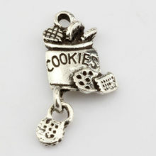 150 pcs Antique Silver Plated Alloy cookies Charm Pendant DIY Jewelry 13 x 26mm A0785