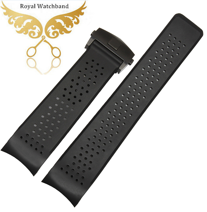 20mm Black deployment watch buckle 22mm Top grade Black Diving Silicone Rubber Holes Watch Band Strap<br>