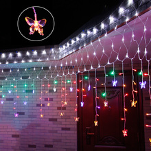 4MX1.2M AC220V Waterproof led Net string light and led curtain light with EU plug 240leds 8modes Xmas holiday fairy decoration