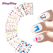 36 sheets Water Transfer Foils Nail Art Stickers Mask Design Nail Wraps Cartoon Series Manicure Fingernails Decals