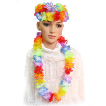 New 10pcs Hawaiian Leis Tropical Beach Theme Luau Party Flower Lei Necklace Garland Fancy Dress(China)