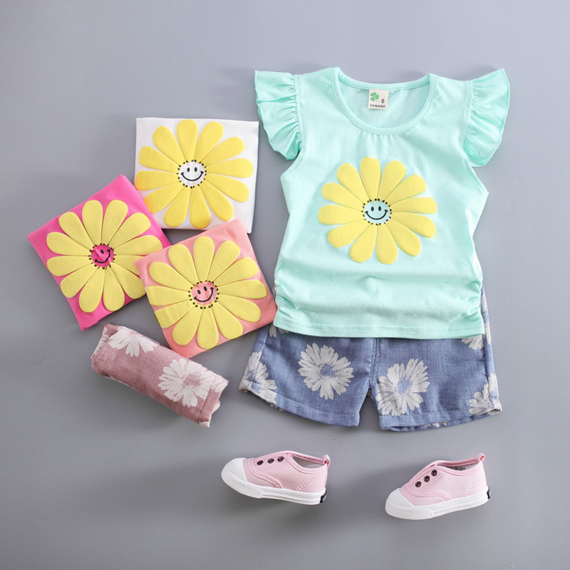 Children summer clothes 12 MONTHS-3 YEARS girl fashion shorts T shirt and  short pants  kids flowers set  GC-001<br><br>Aliexpress
