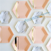 72pcs Hexagon Paper Plates Pastel Pink Marble & Gold Foil Hexagon Small Party Paper Plates for Baby Shower Birthday Party Decor(China)