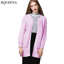 Rqueena European Cardigan Women Long Sweater O-Neck Knitted Female Cardigan With Pocket Long Sleeve Warm Knit Cardigan Coat