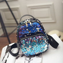 2017 New Arrival Women All-match Bag PU Leather Sequins Backpack Girls Small Travel Princess Bling Backpacks 766