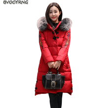 Winter New Women Eiderdown Cotton Parkas Heavy Hair Collar Thickening Long Coat Warm Hooded Jacket Plus Size Outerwear Q866