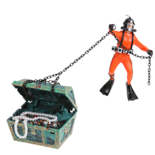 Novelty Hunter & Treasure Chest Figure Action Fish Diver Tank Ornament Aquarium Landscape Fish Aquatic Decorations Pet Supplies(China)