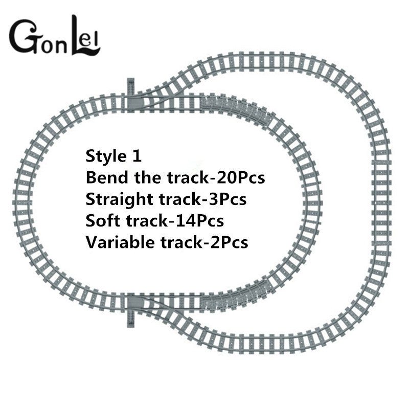 GonLeI Toys for Children Building Blocks Rail Tracks for Train Straight &amp; Curved Tracks to Make One Circle Lepin Compatible<br>