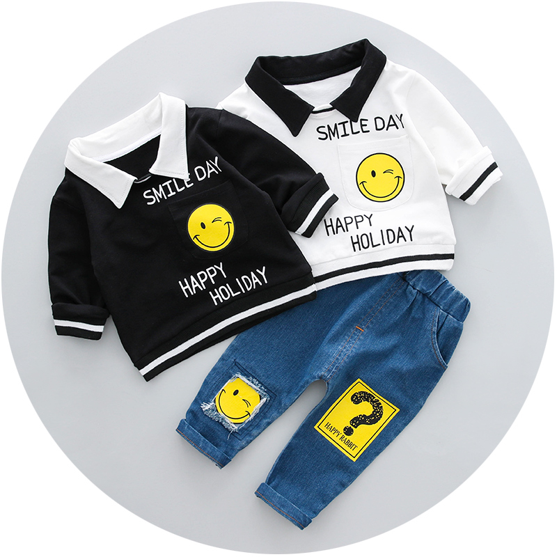 Boys Clothing Set Spring 0-3y New 2018 Fashion Style Cotton turn-down collar full Sleeve with smile Print Baby Boy Clothes 18001 5