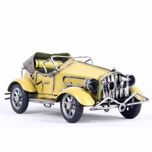 Antique Iron Classic Car Model Red And Yellow Blue Runabout Model Home Decoration Gift Toy